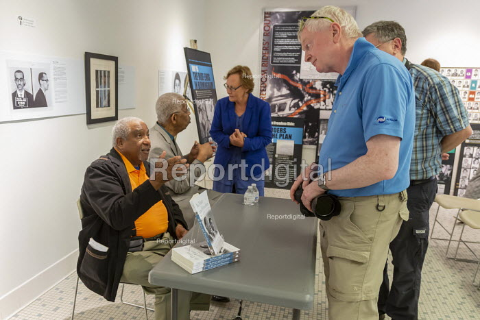 Montgomery, Alabama, USA: Freedom Riders Bernard Lafayette (left) and Rip Patton talking with visitors to the Freedom Rides Museum. The museum is housed in the old Greyhound bus station, where Freedom Riders were badly beaten in 1961 by a white mob as they tried to desegregate interstate bus transportation. The museum is operated by the Alabama Historical Commission. - Jim West - 2018-04-20
