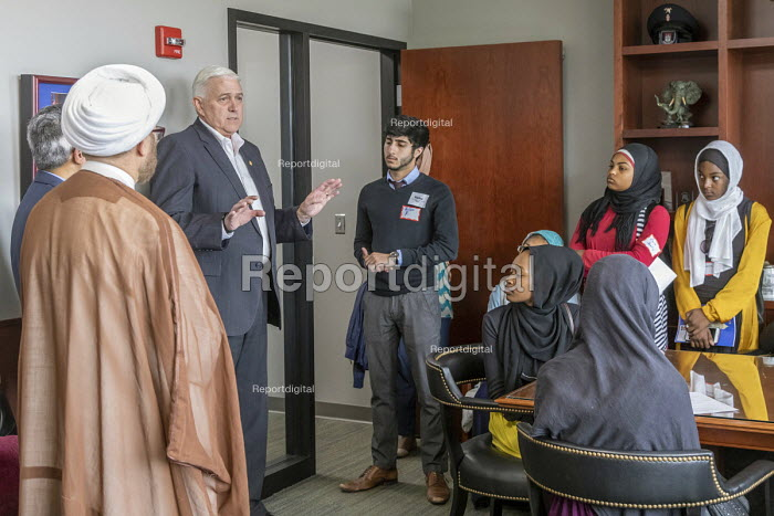 Lansing, Michigan, USA: Muslim high school students from Al-Ikhlas Training Academy Detroit visiting Republican State Senator Ken Horn and discussing issues they are concerned about. Annual Michigan Muslim Capitol Day - Jim West - 2018-05-09