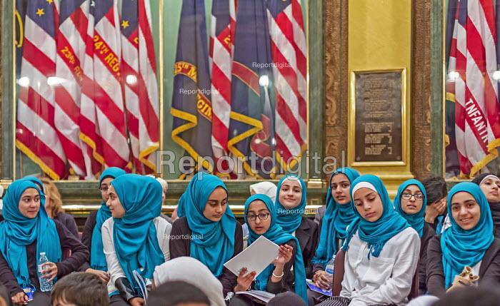 Lansing, Michigan, USA: Muslim high school students visiting the Michigan state capitol, annual Michigan Muslim Capitol Day - Jim West - 2018-05-09