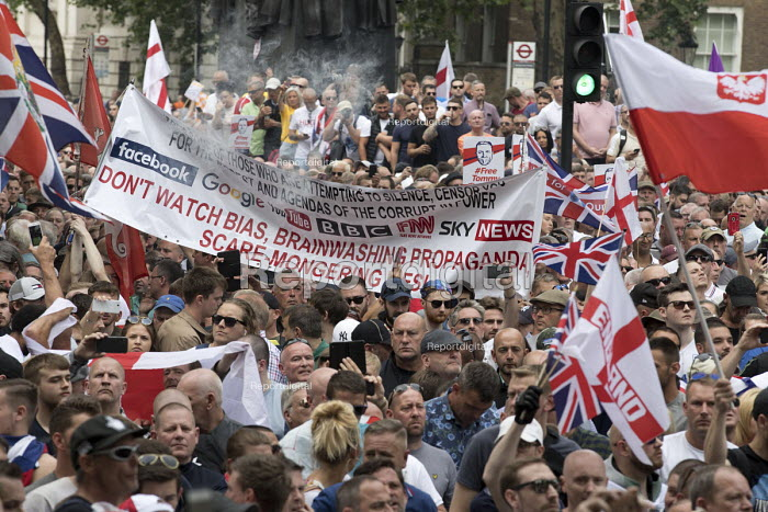 Anti mainstream media biased banner at protest in support of Tommy Robinson, Whitehall, London - Jess Hurd - 2018-06-09