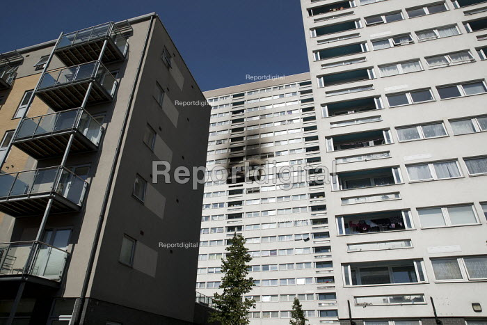 Grafton House twelfth floor fire is contained and brought under control by over 50 firefighters at a 22 story East End Homes tower block, Mile End, East London - Jess Hurd - 2018-06-29