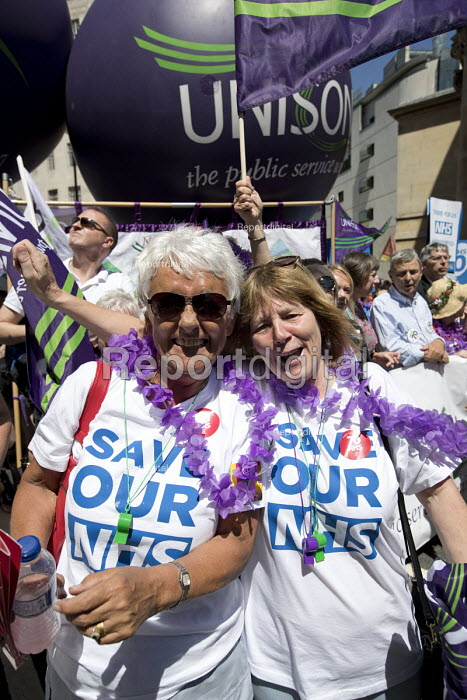 Wigan strikers, NHS 70th Anniversary protest - free, for all, forever, London. The strike is against plans to outsource their jobs to WWL Solutions Ltd - Jess Hurd - 2018-06-30