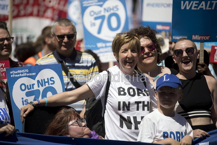 Julie Hesmondhalgh, actor Hayley Cropper with Jonathan Ashworth MP, NHS 70th Anniversary protest - free, for all, forever, London - Jess Hurd - 2018-06-30