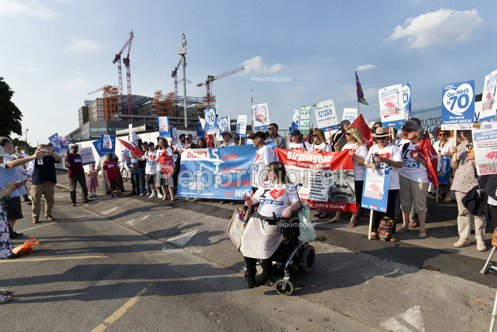 Unions and Keep Our NHS Public NHS 70th anniversary protest outside the unfinished Midland Metropolitan Hospital, construction of which stopped when Carillion went into liquidation - John Harris - 2018-07-05