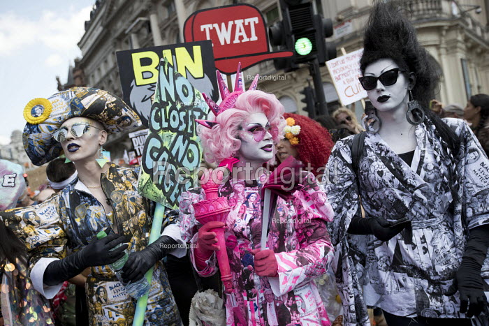 Cheddar Gorgeous, Ana Phylactic as Liberty and Liquorice Black Drag protest from Soho, Together Against Trump protest against the visit to the UK by US President Donald Trump, London - Jess Hurd - 2018-07-13
