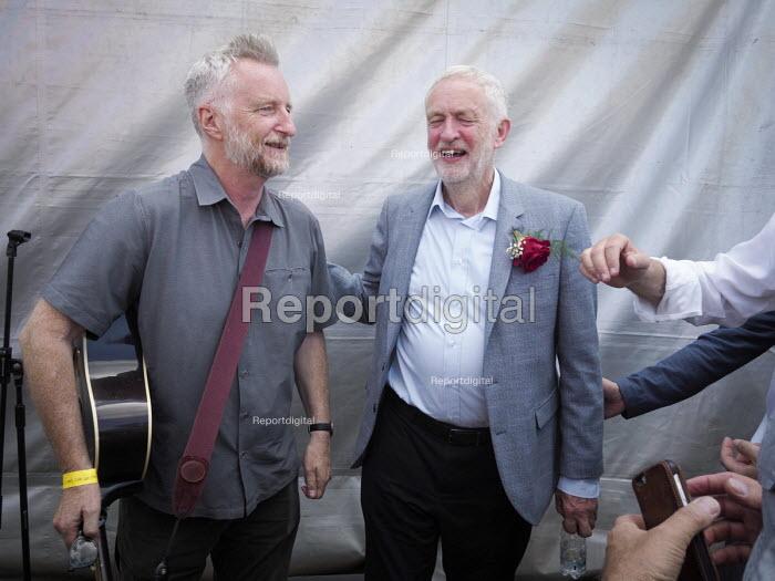 Jeremy Corbyn with musician Billy Bragg, Durham Miners Gala, 2018 - Mark Pinder - 2018-07-14