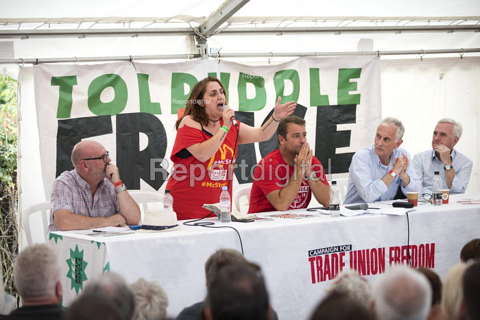 Shen Batmaz speaking, John McDonnell, Peter Hughes, Prof Keith Ewing and Mick Whelan ASLEF at Tolpuddle Martyrs' Festival, Dorset 2018. - Jess Hurd - 2018-07-20