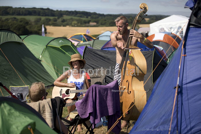 Double bass playing, Tolpuddle Martyrs' Festival, Dorset 2018 - Jess Hurd - 2018-07-21