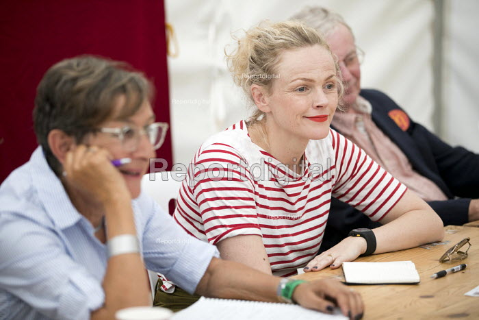 TUC 150 meeting, Maxine Peake with Prof Mary Davis, Lord John Monks and Paul Nowak at Tolpuddle Martyrs' Festival, Dorset 2018. - Jess Hurd - 2018-07-21
