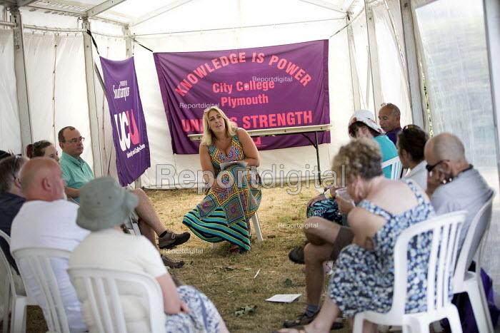 Vicky Knight, UCU tent at Tolpuddle Martyrs' Festival, Dorset 2018 - Jess Hurd - 2018-07-21