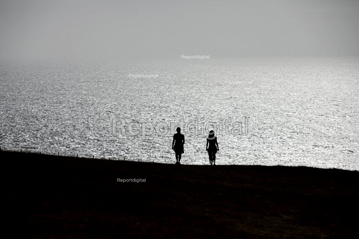 Tourists at Beachy Head, a Chalk headland and suicide spot in East Sussex - Jess Hurd - 2018-07-28