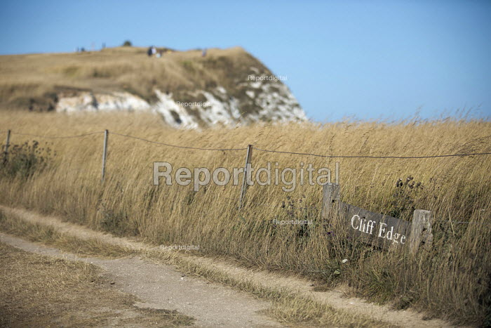 Cliff edge, Beachy Head, a Chalk headland and suicide spot, East Sussex. There are an estimated 20 deaths by suicide a year at Beachy Head - Jess Hurd - 2018-07-28