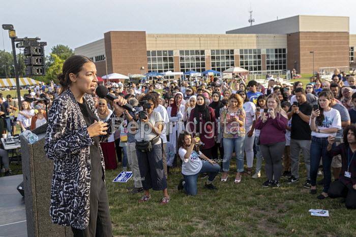 Dearborn, Michigan USA: Alexandria Ocasio-Cortez DSA speaking, Muslim Get Out the Vote rally, sponsored by several Muslim community organisations - Jim West - 2018-07-29