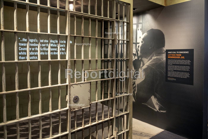 Memphis, Tennessee USA The National Civil Rights Museum at the Lorraine Motel where Martin Luther King was assassinated in 1968. The text of Dr. King's 1963 Letter from Birmingham Jail is displayed in a jail cell - Jim West - 2018-04-25