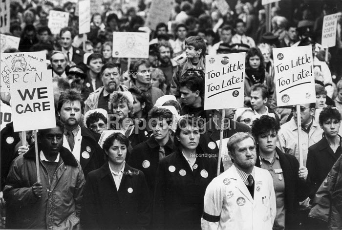 Health workers and patient funeral for the NHS protest, Gloucester 1987 - John Harris - 1987-12-19