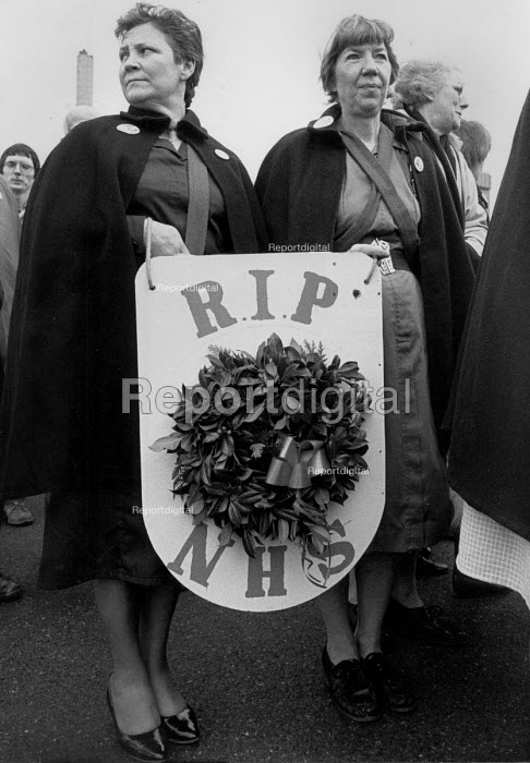 Health workers and patient funeral for the NHS protest, Gloucester 1987 RIP NHS wreath - John Harris - 1987-12-09