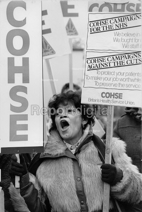Protest lobby of West Midland Regional Health Authority against NHS cuts and for higher nurses pay Birmingham 1987 - John Harris - 1987-12-09