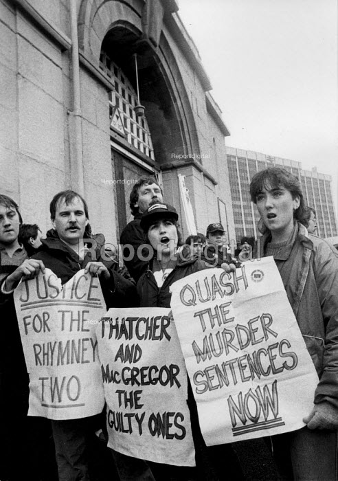 Protest outside HMP Cardiff 1985 for the release of Don Hancock, Russell Shankland imprisoned for the murder of a taxi driver who was taking a working miner to work at Merthyr Vale colliery when a concrete post was thrown from a bridge as the taxi passed underneath. On appeal the convictions were reduced to manslaughter - John Harris - 1985-05-25