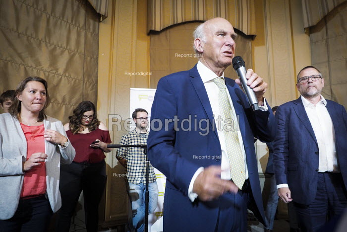 Vince Cable speaking Pro EU People's Vote rally, Newcastle Upon Tyne Anna Turley MP (L) Phil Wilson MP (R). Campaigning for a public vote on the final Brexit deal between the UK and the European Union - Mark Pinder - 2018-08-25