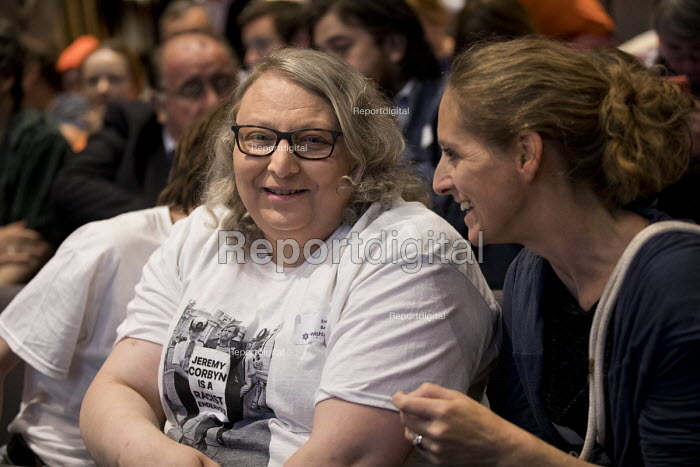 Delegate wearing Jeremy Corbyn is a Racist t-shirt, Jewish Labour Movement Conference, London. Photograph showing Corbyn being arrested at an Anti Apartheid movement protest 1984 with the words of the placard edited out and replaced with the slogan Jeremy Corbyn is a Racist, without the permission of the photographer Rob Scott. - Jess Hurd - 2018-09-02