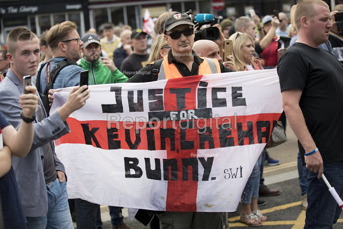 EDL national protest Worcester, against a potential mosque. Justice for Kevin Crehan flag. Bacon mosque attacker Kevin Crehan died in Bristol Prison after drug overdose - Jess Hurd - 2018-09-01