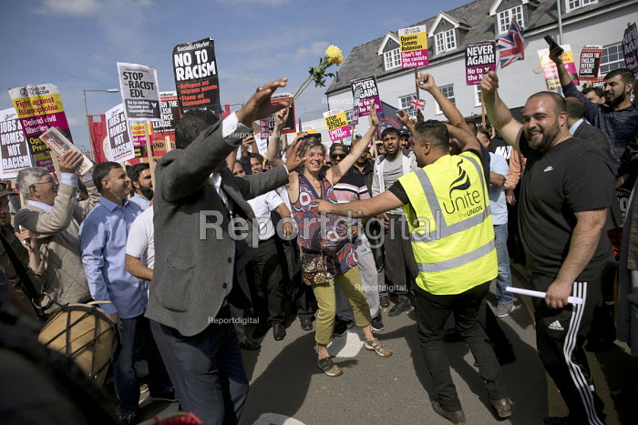 Anti fascist March for Unity counter protest against EDL national protest, Worcester. Protesters dancing - Jess Hurd - 2018-09-01