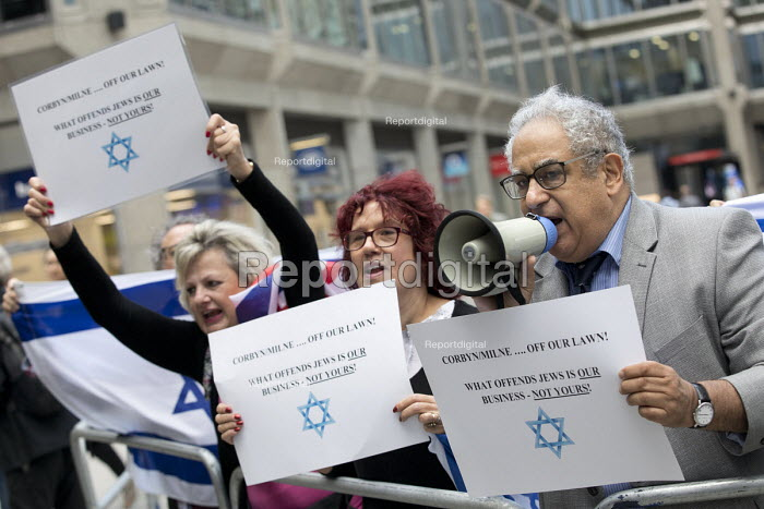 Pro Zionist, anti Corbyn group protesting outside Labour Party NEC meeting on IHRA anti semitism definition, Labour HQ, London - Jess Hurd - 2018-09-04