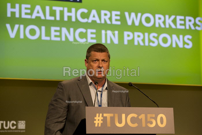Joe Simpson POA speakingTUC Congress Manchester 2018 - John Harris - 2018-09-10