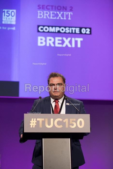 Manuel Cortes TSSA speaking TUC Congress, Manchester 2018 - Jess Hurd - 2018-09-10