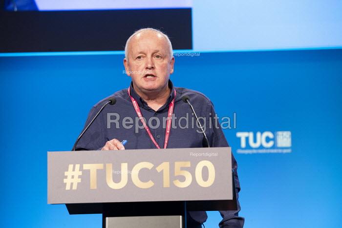 Tony Kearns CWU speaking TUC conference 2018 Manchester - John Harris - 2018-09-11