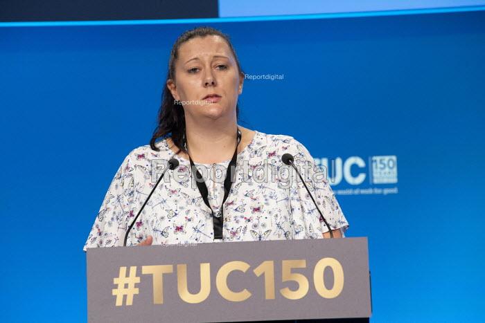 Sarah Woolley BFAWU speaking TUC conference 2018 Manchester - John Harris - 2018-09-11