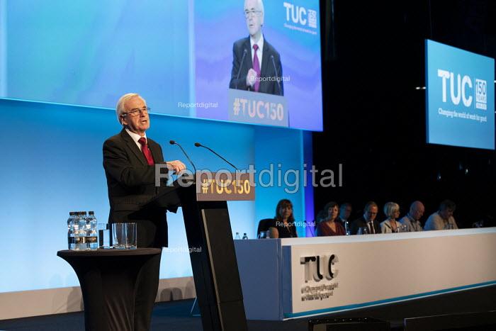 John McDonnell speaking TUC conference 2018 Manchester - John Harris - 2018-09-11