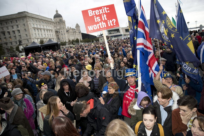 Pro EU Remain placard, Labour Party Conference rally, Liverpool Pier, 2018. Brexit, is it worth it? - Jess Hurd - 2018-09-22