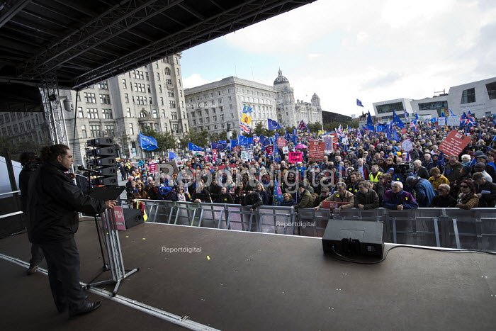 Manuel Cortes TSSA speaking People's Vote March for the Many, Labour Party Conference, Liverpool, 2018 - Jess Hurd - 2018-09-23