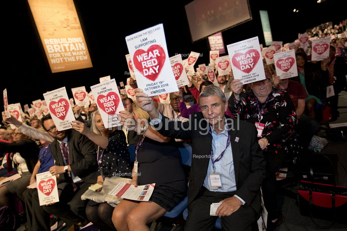 Dave Prentis and the UNISON delegation supporting Show Racism the Red Card at Labour Party Conference, Liverpool, 2018 Wear Red Day - Jess Hurd - 2018-09-23