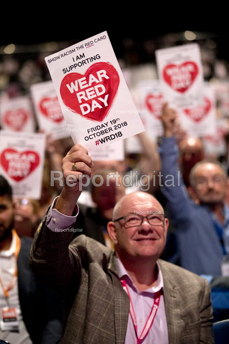 Dave Ward CWU supporting Show Racism the Red Card, Labour Party Conference, Liverpool, 2018 Wear Red Day - Jess Hurd - 2018-09-23