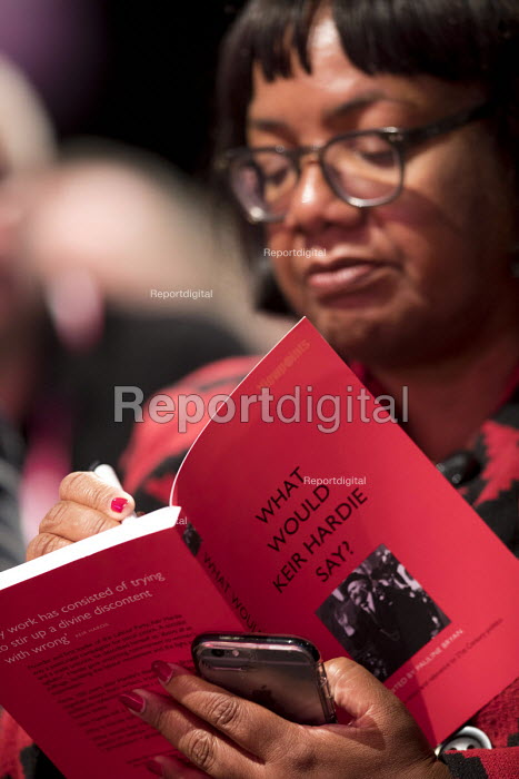 Diane Abbott MP signing a Keir Hardie book Labour Party Conference, Liverpool, 2018 - Jess Hurd - 2018-09-25