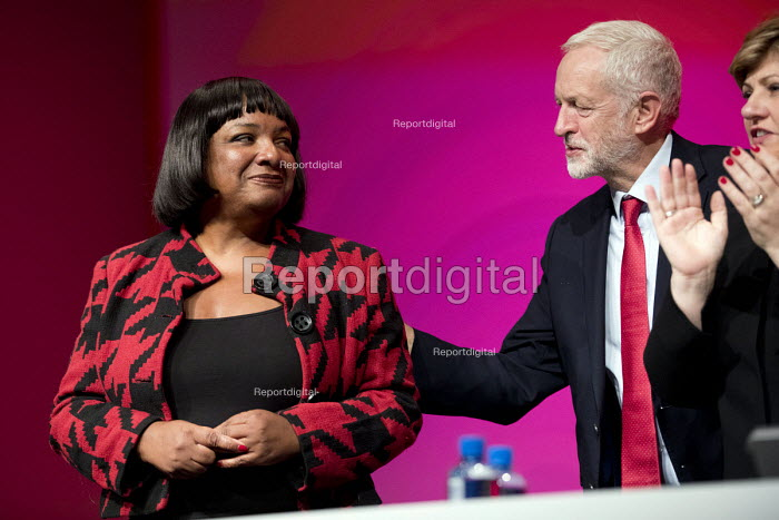 Diane Abbott MP speaking Labour Party Conference, Liverpool, 2018 with Jeremy Corbyn - Jess Hurd - 2018-09-25