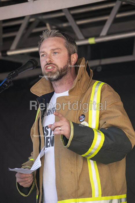 Andrew Scattergood FBU speaking, protest against Austerity cuts ahead of the Conservative Party Conference, Birmingham - John Harris - 2018-09-29