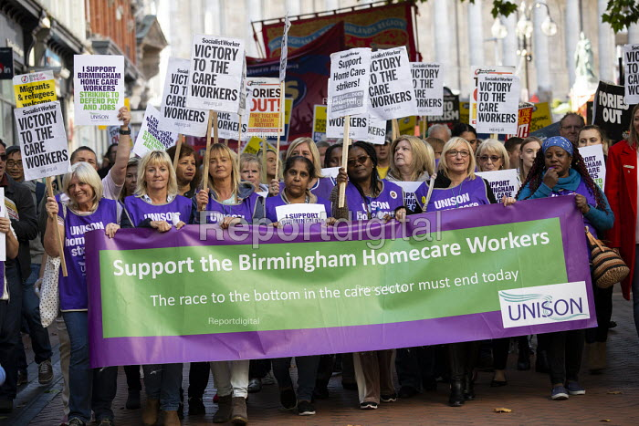 Striking home care workers lead protest against Austerity cuts ahead of the Conservative Party Conference, Birmingham - John Harris - 2018-09-29
