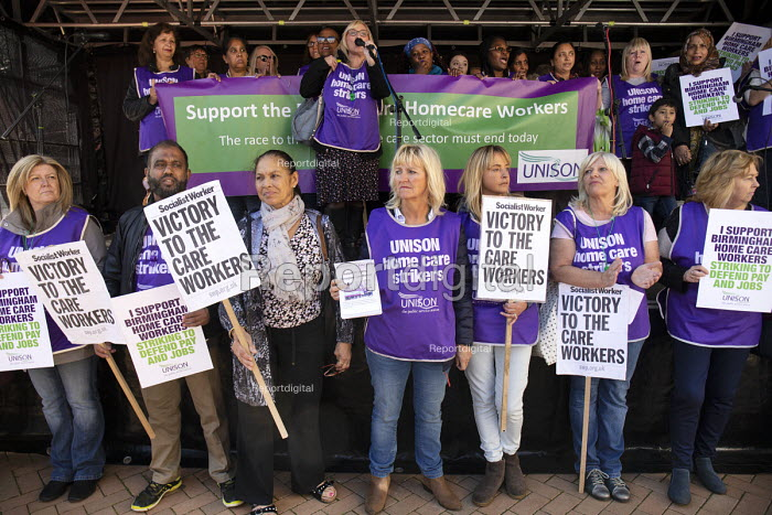 Mandy Buckley, Unison Home care workers speaking, Protest against Austerity cuts ahead of the Conservative Party Conference, Birmingham - John Harris - 2018-09-29
