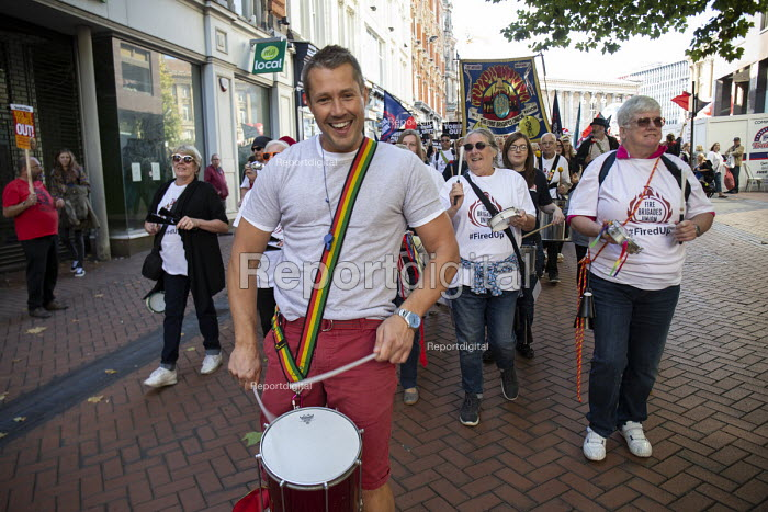 Adam Joyce FBU leading drummers. Protest against Austerity cuts ahead of the Conservative Party Conference, Birmingham - John Harris - 2018-09-29