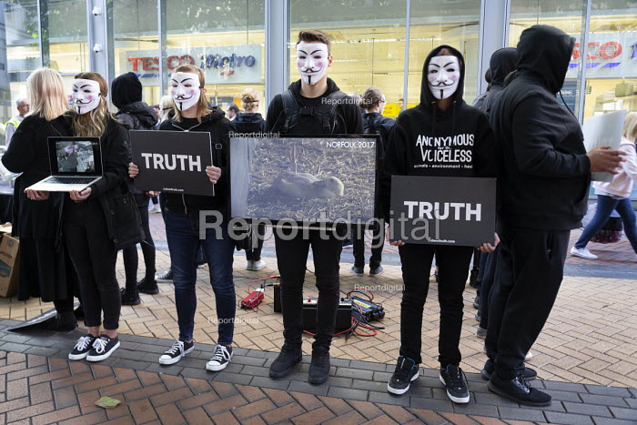 Animal Rights protest by Anonymous for the Voiceless. The Cube of Truth showing videos of animal cruelty, outside Tesco supermarket, Birmingham - John Harris - 2018-09-29