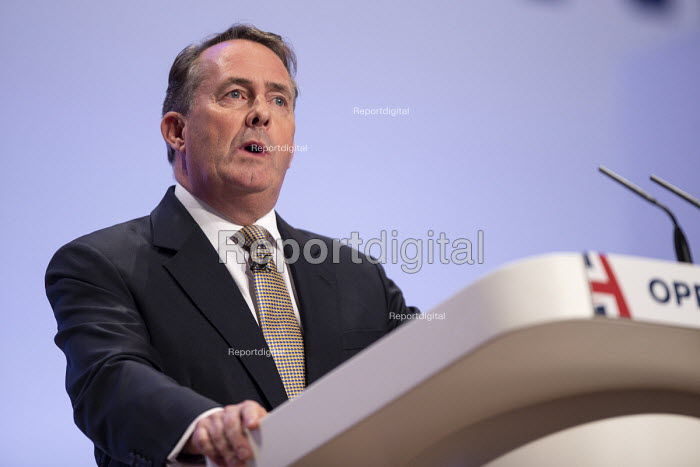 Liam Fox speaking Conservative Party Conference Birmingham 2018 - John Harris - 2018-09-30
