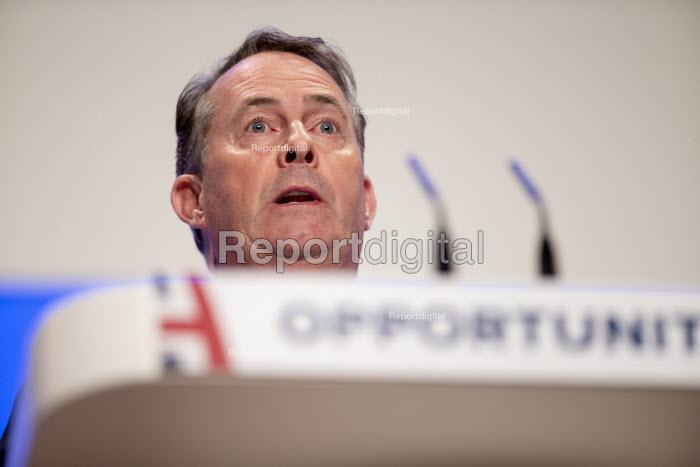 Liam Fox speaking Conservative Party Conference Birmingham 2018 - John Harris - 2018-09-30