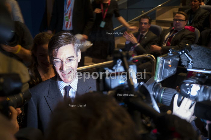 Jacob Rees-Mogg speaking to TV journalists, Making a Sucess of Brexit fringe meeting, Conservative Party Conference Birmingham 2018 - John Harris - 2018-09-30