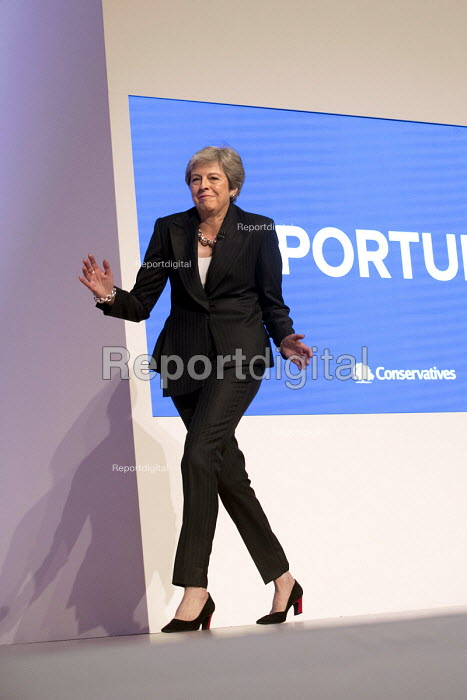 Theresa May dancing her way onto the stage. Theresa May speaking Conservative Party Conference, Birmingham, 2018 - Jess Hurd - 2018-10-03