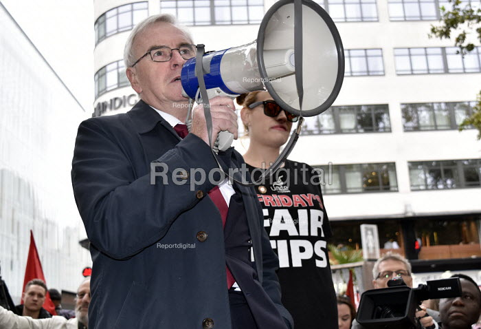 John McDonnell MP speaking McDonald's, UberEats and Wetherspoon workers strike over low pay. Rally Leicester Square, London - Stefano Cagnoni - 2018-10-04