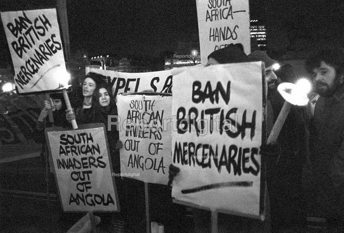 Vigil against South African invasion of Angola London 1976 and British mercenaries fighting for them - NLA - 1976-02-11