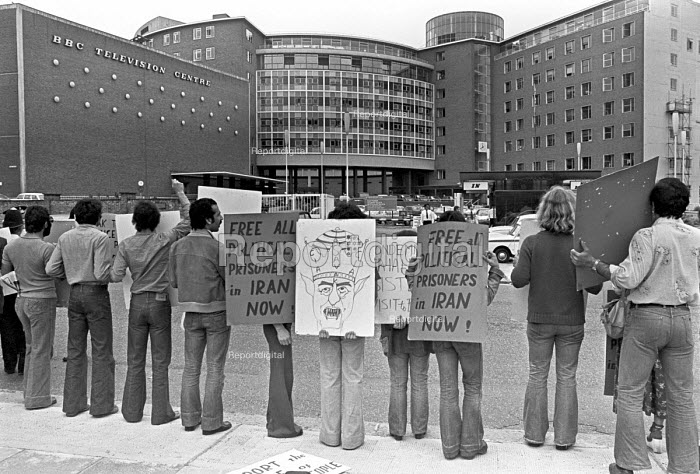 Iranian students protest at the BBC 1976 reporting of the movement against the Shah and for the release of all political prisoners, BBC Televison Centre, London - NLA - 1976-06-11
